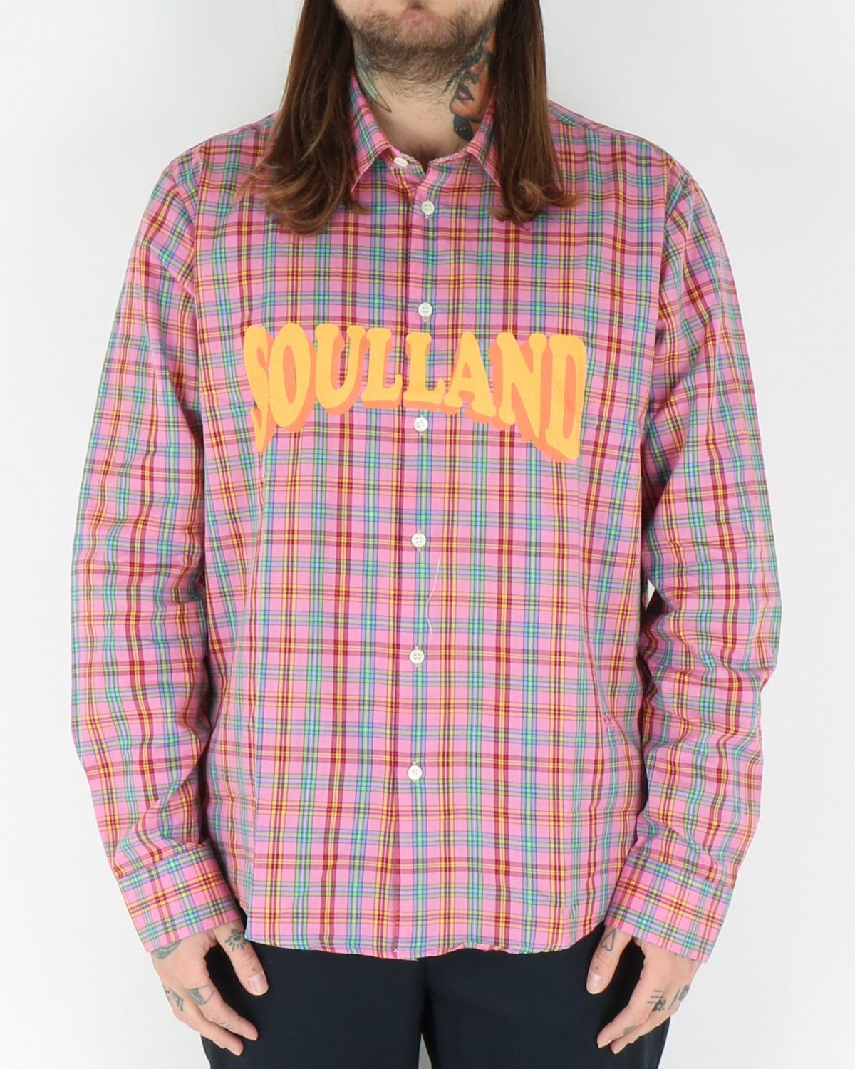 soulland_saul checked shirt_pink_3_3