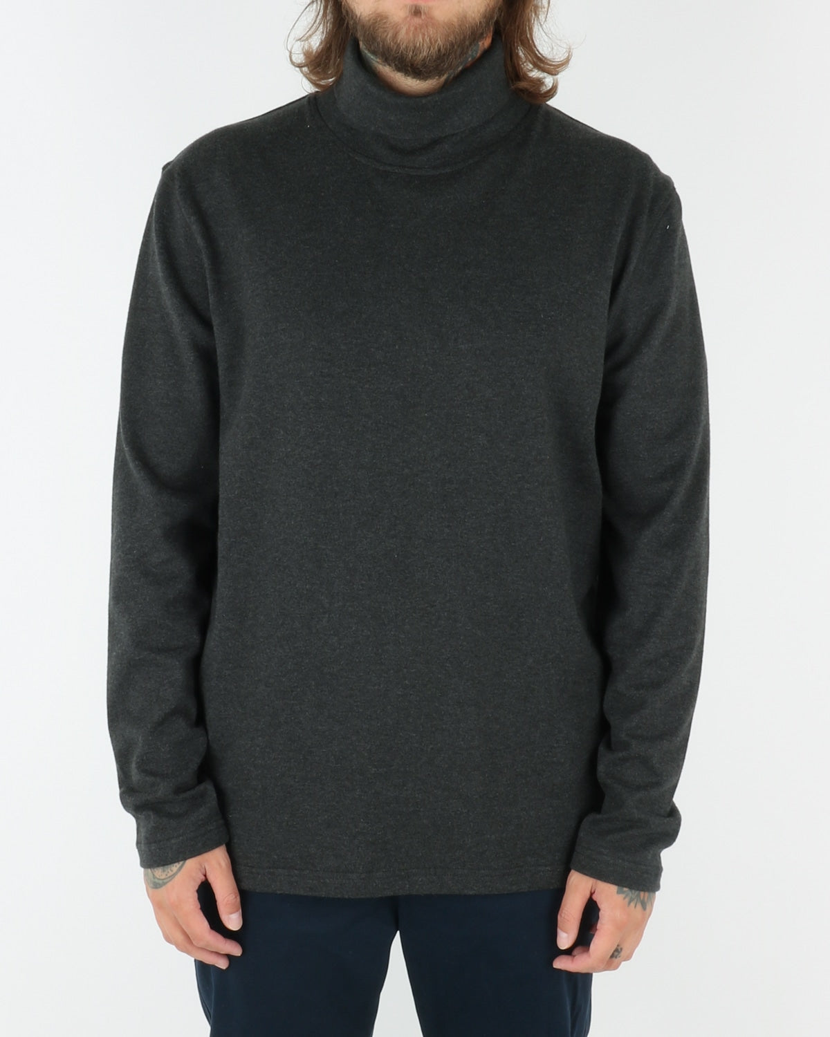 wac we are copenhagen_belushi roll neck_sweatshirt_dark grey melange_view_1_2