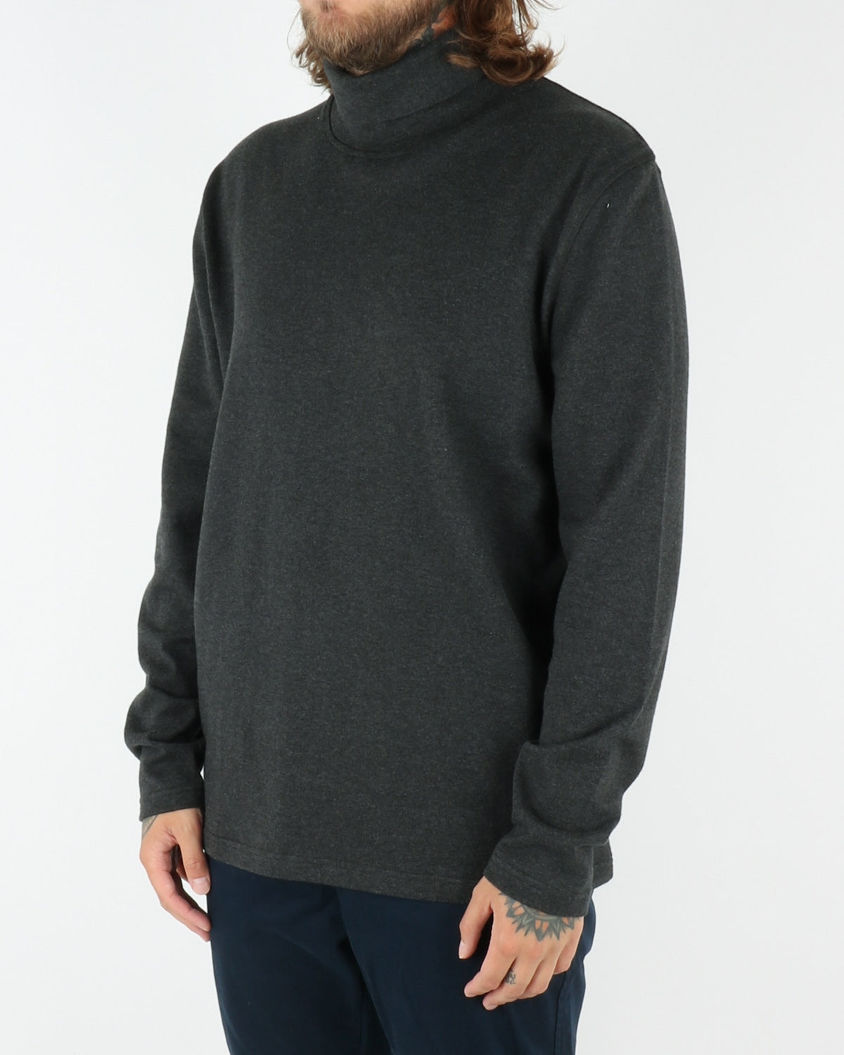 wac we are copenhagen_belushi roll neck_sweatshirt_dark grey melange_view_2_2