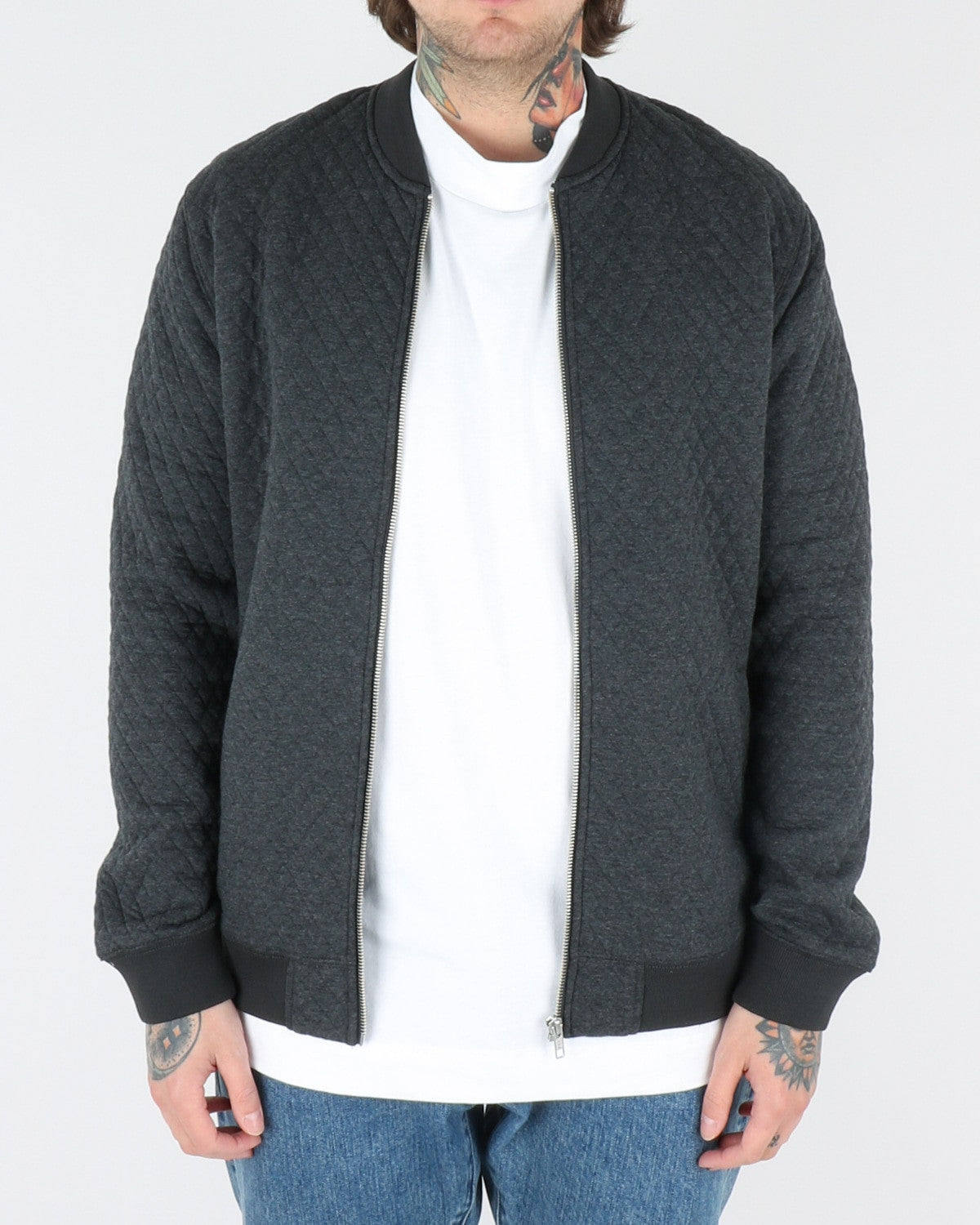 wac we are copenhagen_lens zip sweatshirt_dark grey melange_view_1_3