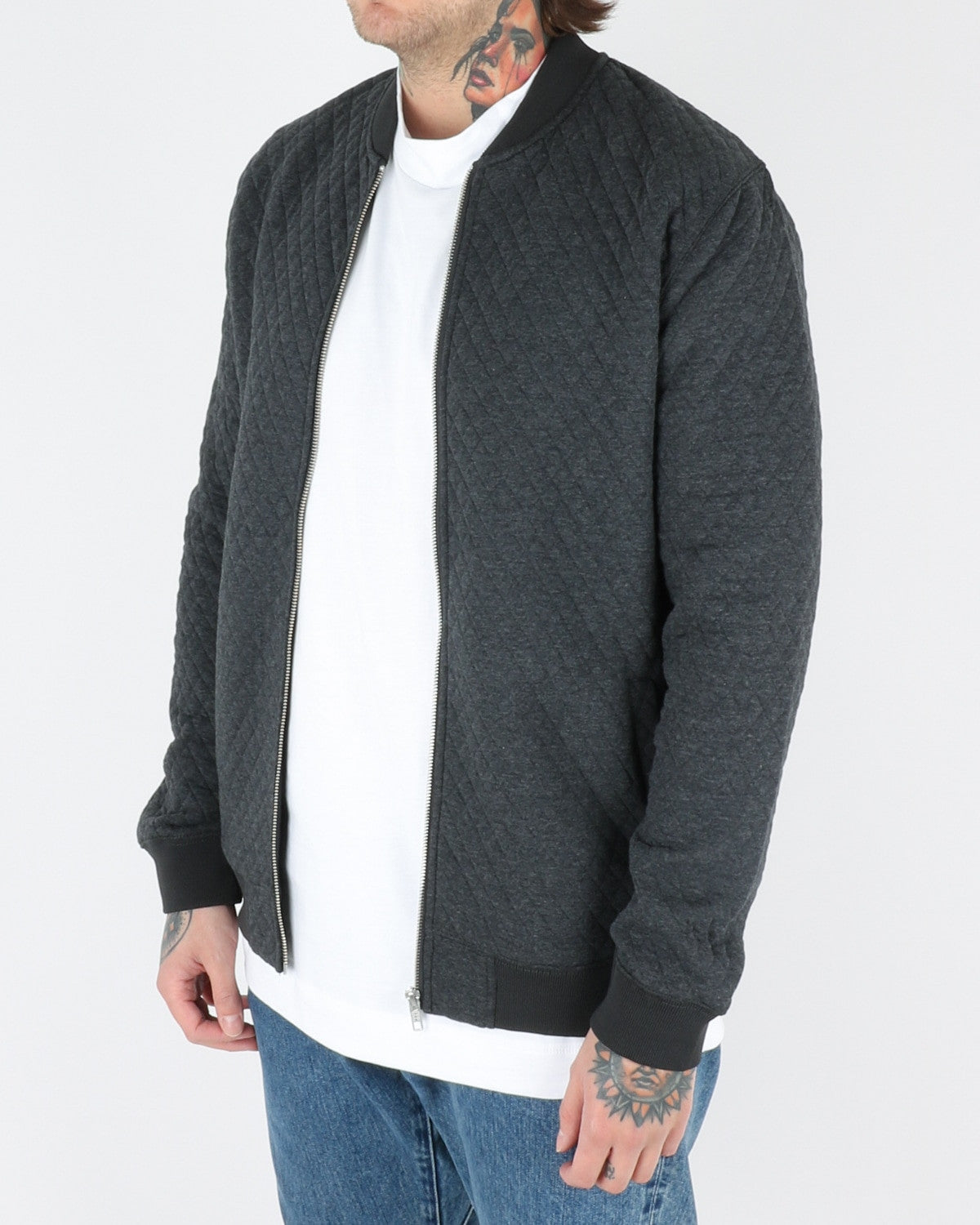 wac we are copenhagen_lens zip sweatshirt_dark grey melange_view_2_3
