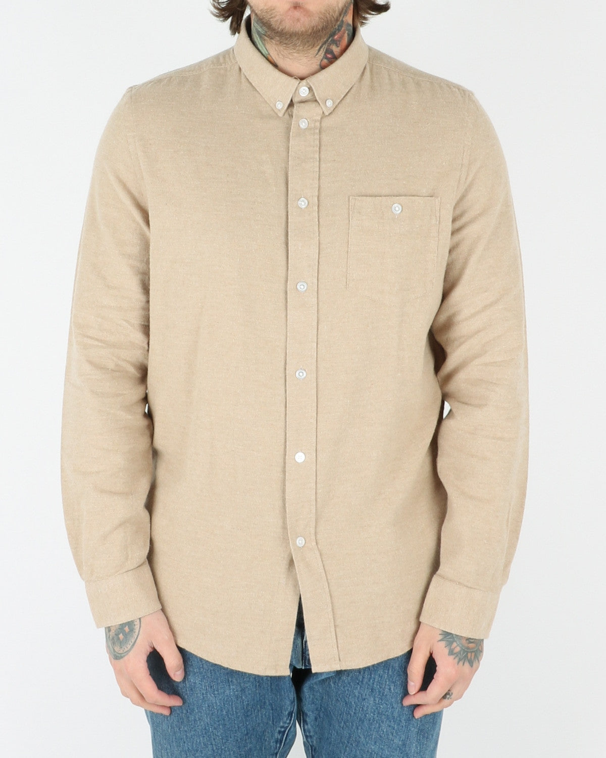 wac we are cph_davy_shirt_khaki melange_view_1_2