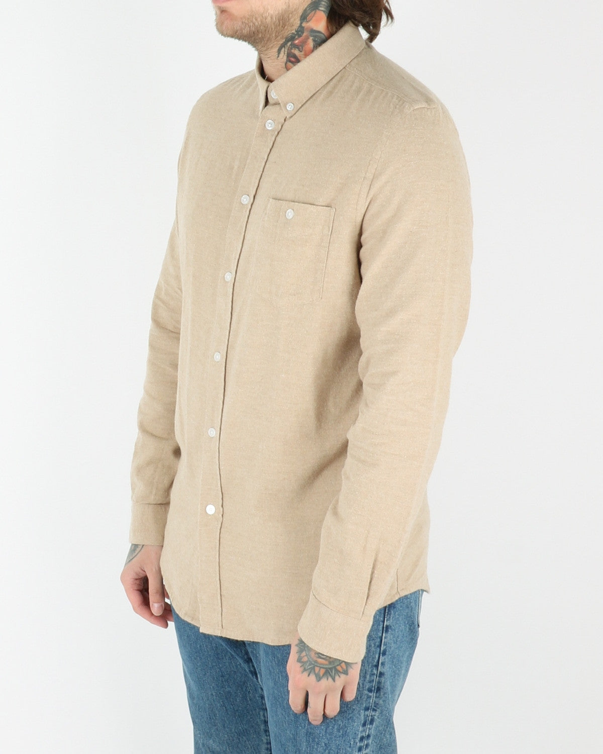 wac we are cph_davy_shirt_khaki melange_view_2_2