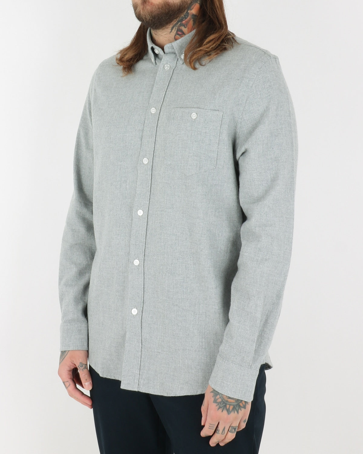 we are copenhagen_davy shirt ls_light grey melange_view_2_3