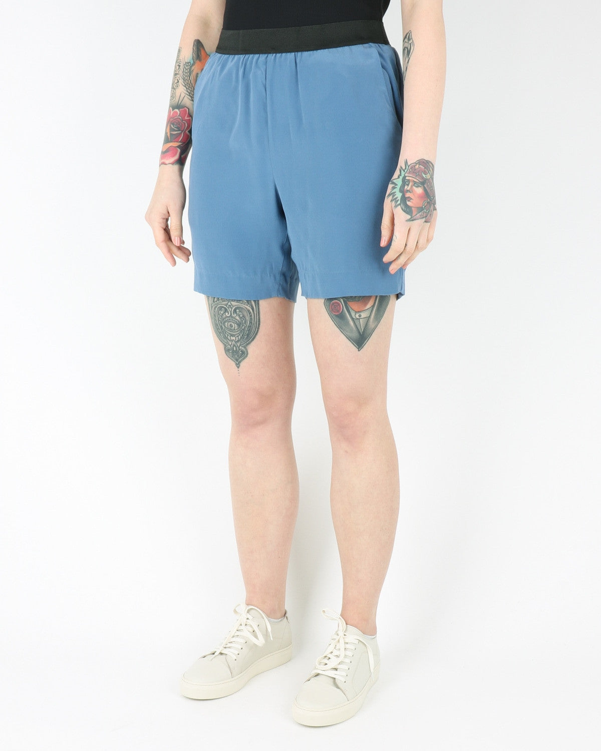 whyred_blue elastic silk shorts_milk blue_view_2_2