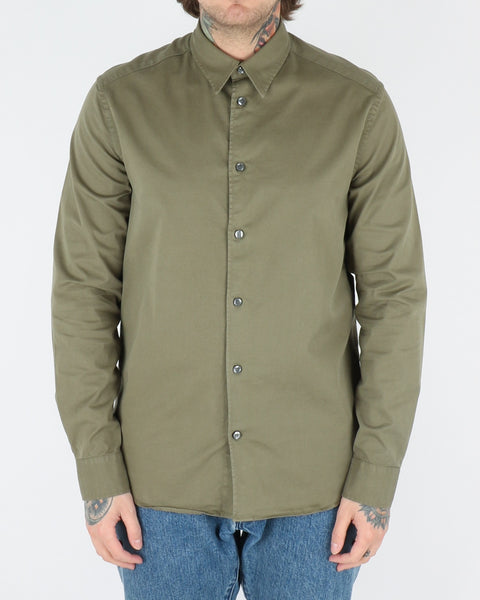 whyred_stone twill shirt_bomber green_view_1_3