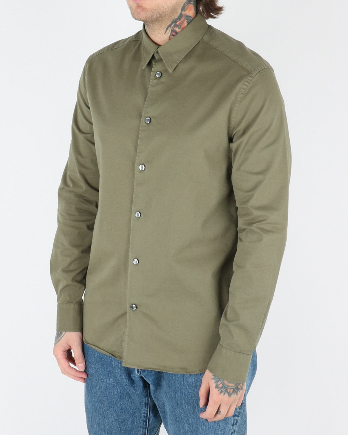 whyred_stone twill shirt_bomber green_view_2_3