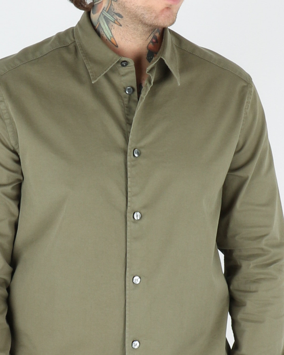 whyred_stone twill shirt_bomber green_view_3_3