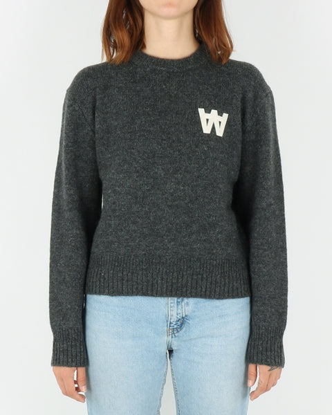 wood wood_anneli sweater_dark grey melange_view_1_3