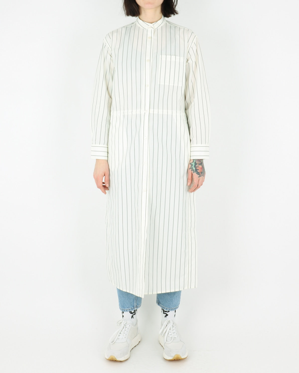 wood wood_cornelia dress_offwhite pinstripes_view_1_3