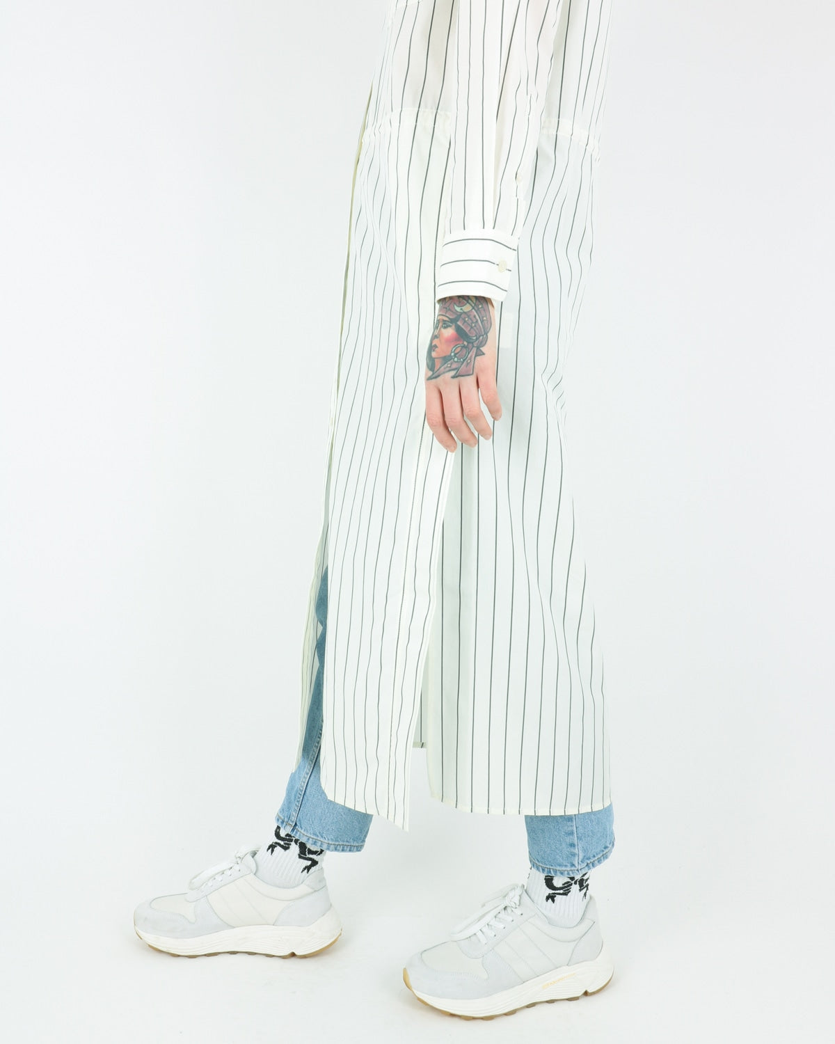 wood wood_cornelia dress_offwhite pinstripes_view_3_3