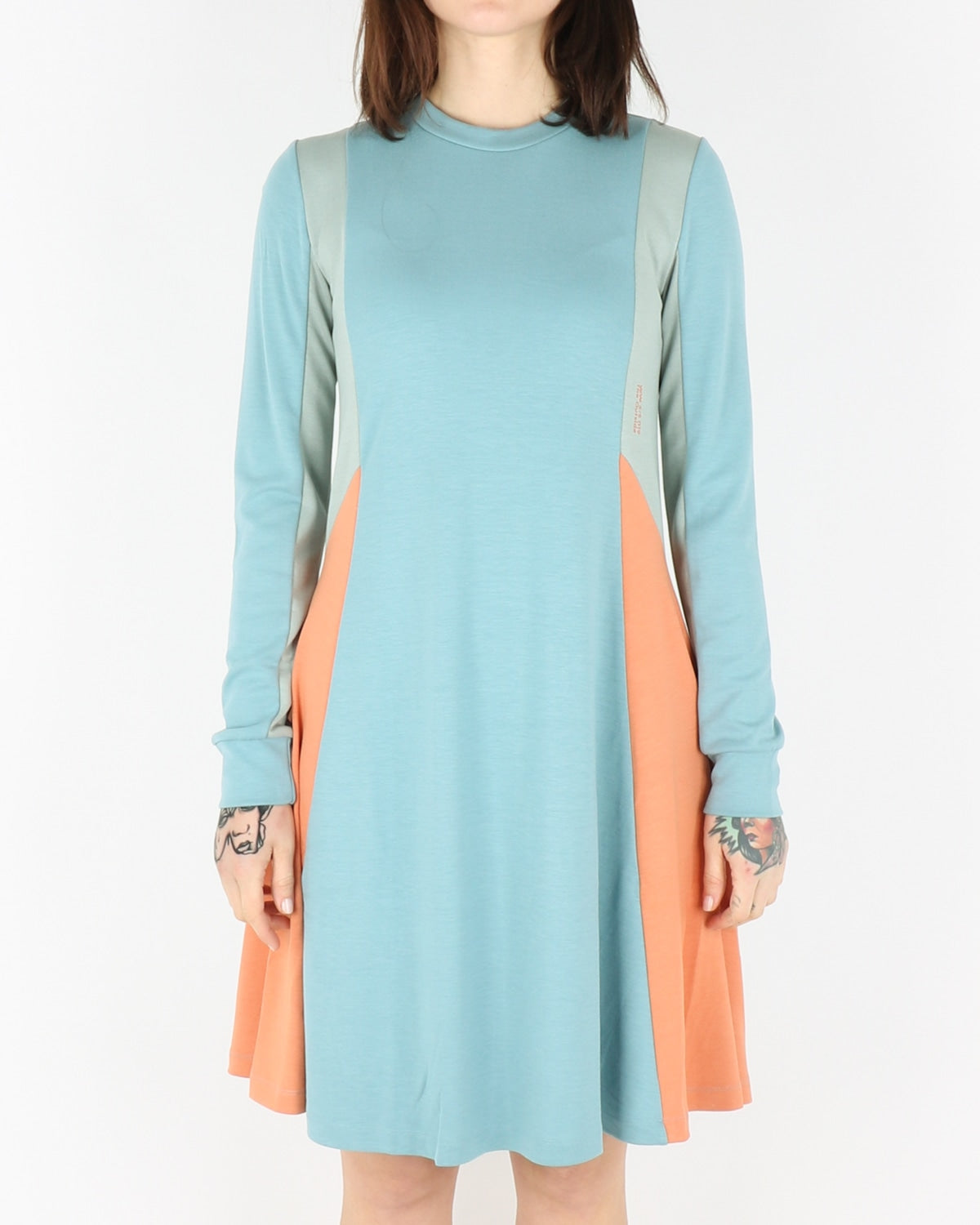 wood wood_mandy longsleeve dress_dusty blue colorblock_view_3_3