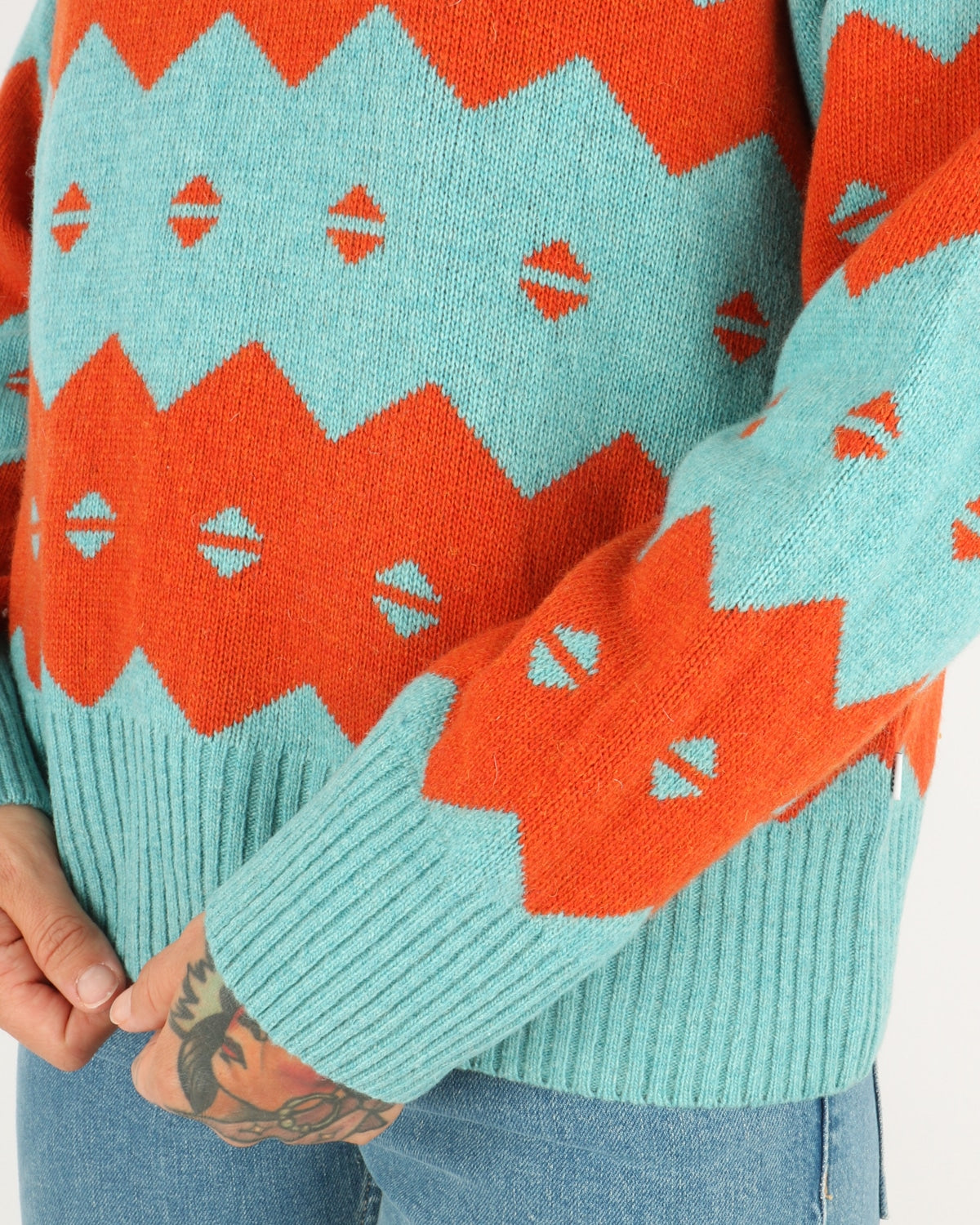wood wood_sonia sweater_turquoise jaquard_3_4