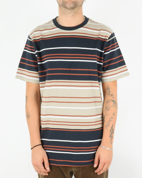 woodbird_ranbo stripe tee_ecru clay brown_1_3