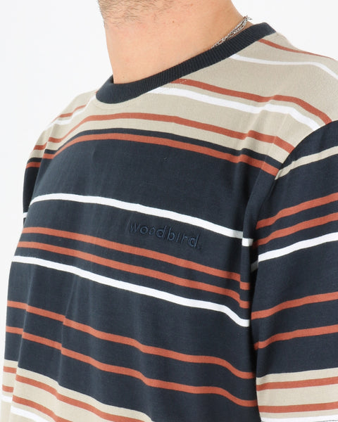 woodbird_ranbo stripe tee_ecru clay brown_3_3