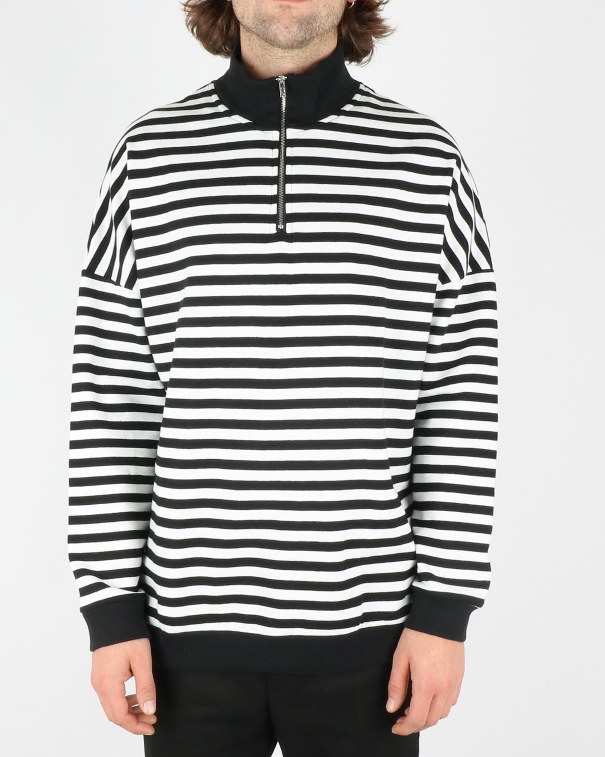 woodbird_sail half zip sweat_white black_1_5
