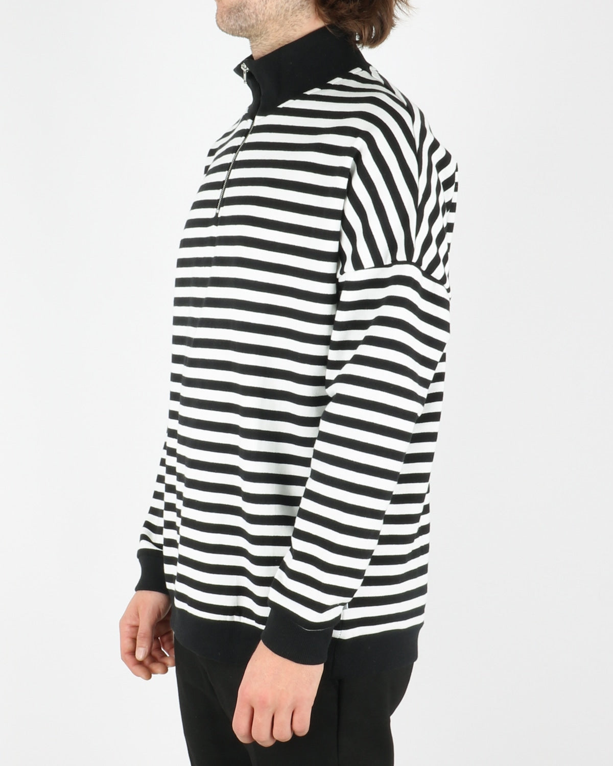 woodbird_sail half zip sweat_white black_2_5
