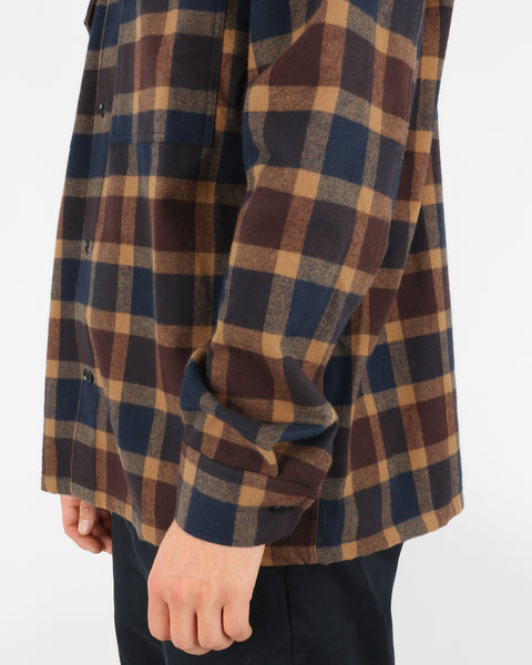 wood wood_franco shirt_navy check_4_4