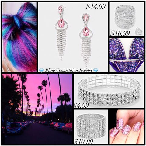 Pink & Purple jewelry for your bodybuilding bikini, figure, physique, competition, bridesmaid, prom, or bridal look