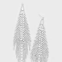 Clear Crystal Rhinestone Silver Earrings