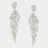 AB Iridescent Rhinestone Silver Earrings