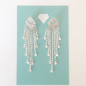 """ Twilight "" Clear Rhinestone Fringe Earrings On Silver Tone"