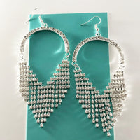 """ Wonder "" Clear Rhinestone Chandalier Fringe Earrings On Silver Tone"