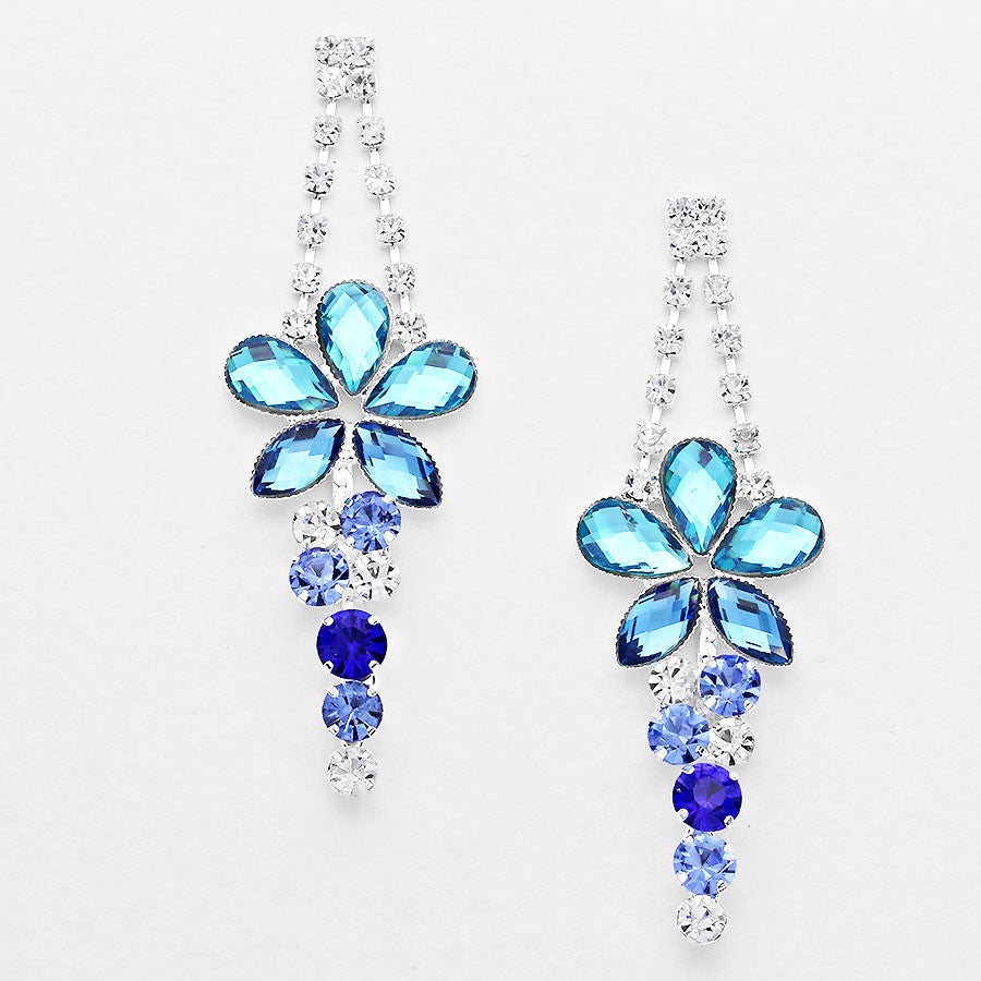 """ Budding Star "" Floral Multi Blue Crystal Rhinestone Chandelier Earrings Silver Tone"
