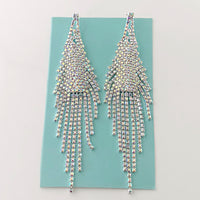 """ Kaleidoscope ""  AB Iridescent Drop Fringe Earrings On Silver Tone"
