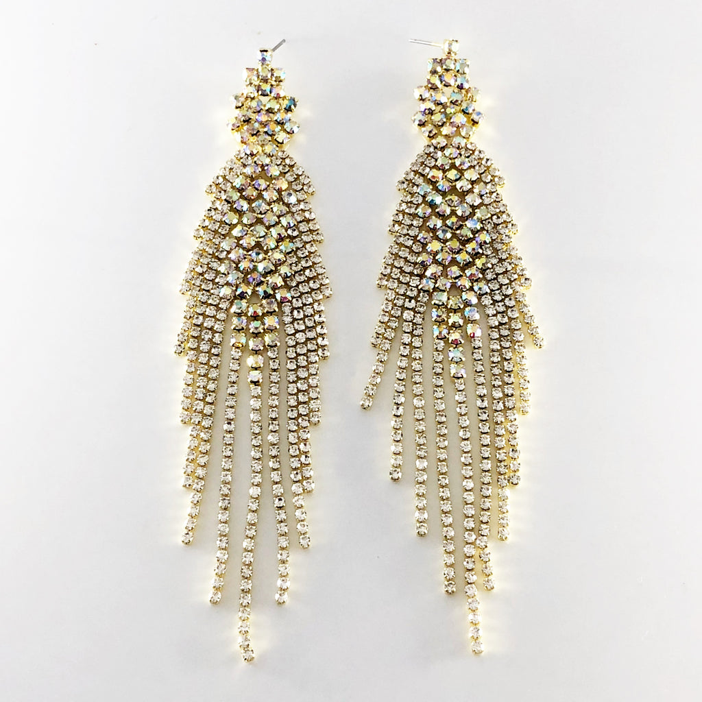 """ Siren "" Dramatic Long AB Iridescent/Clear Rhinestone Fringe Earrings On Gold Tone"