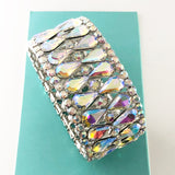 """ Glam "" AB Iridescent Teardrop Crystal Stretch Bracelet On Silver Tone"