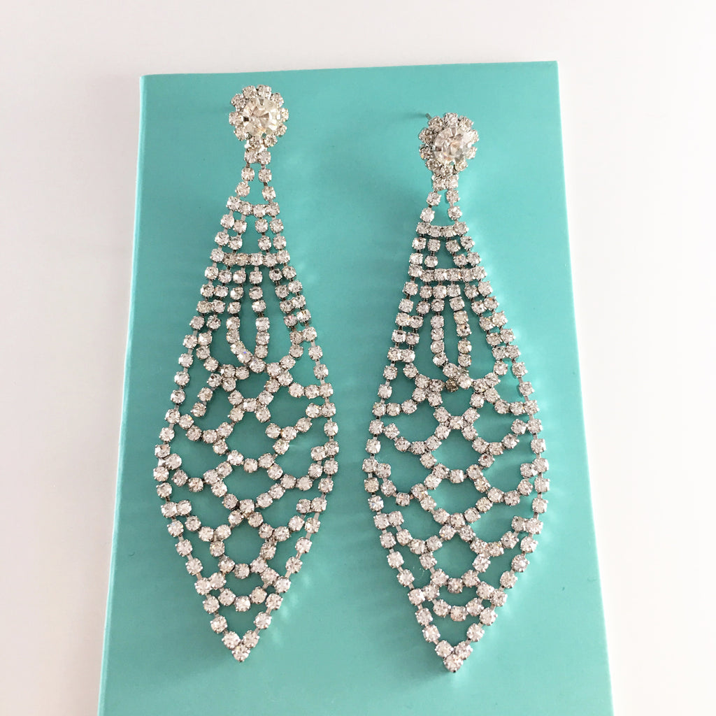 """ Elevate "" Clear Rhinestone Earrings on Silver Tone"