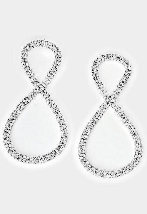 """ Go Figure "" Clear Rhinestone Drop Earrings On Silver Tone"