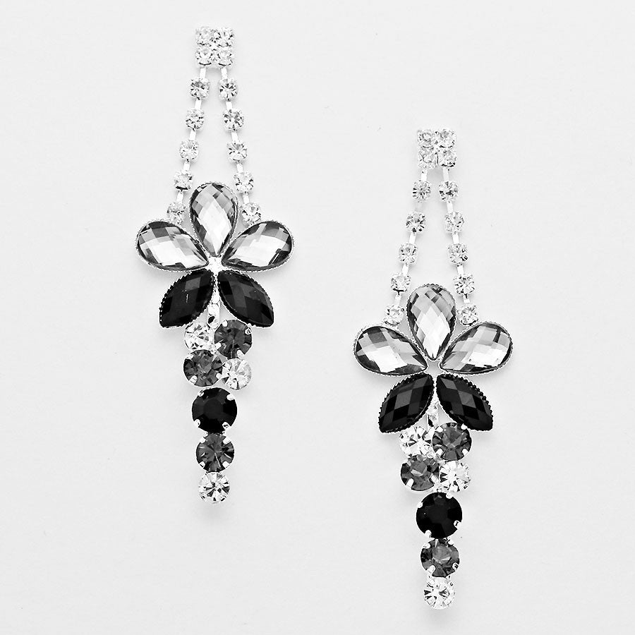 """ Budding Star ""  Floral Black N Grey Crystal Rhinestone Chandelier Earrings Silver Tone"