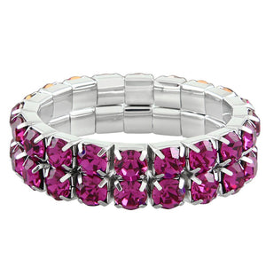 """ Excellence "" 2 Row Fuschia Czech Crystal Stretch Bracelet"