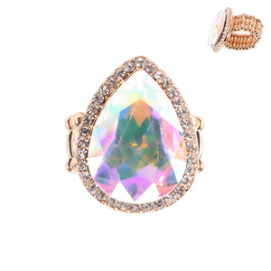 """ Teardrop "" AB Iridescent Teardrop Crystal Stretch Ring On Gold Tone"