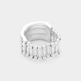 """ Fit Chick "" Clear Rhinestone Stretch Ring on Silver Tone"