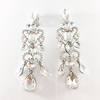 """ Bling It On "" Clip On Clear Crystal Chandelier Earrings on Silver Tone"