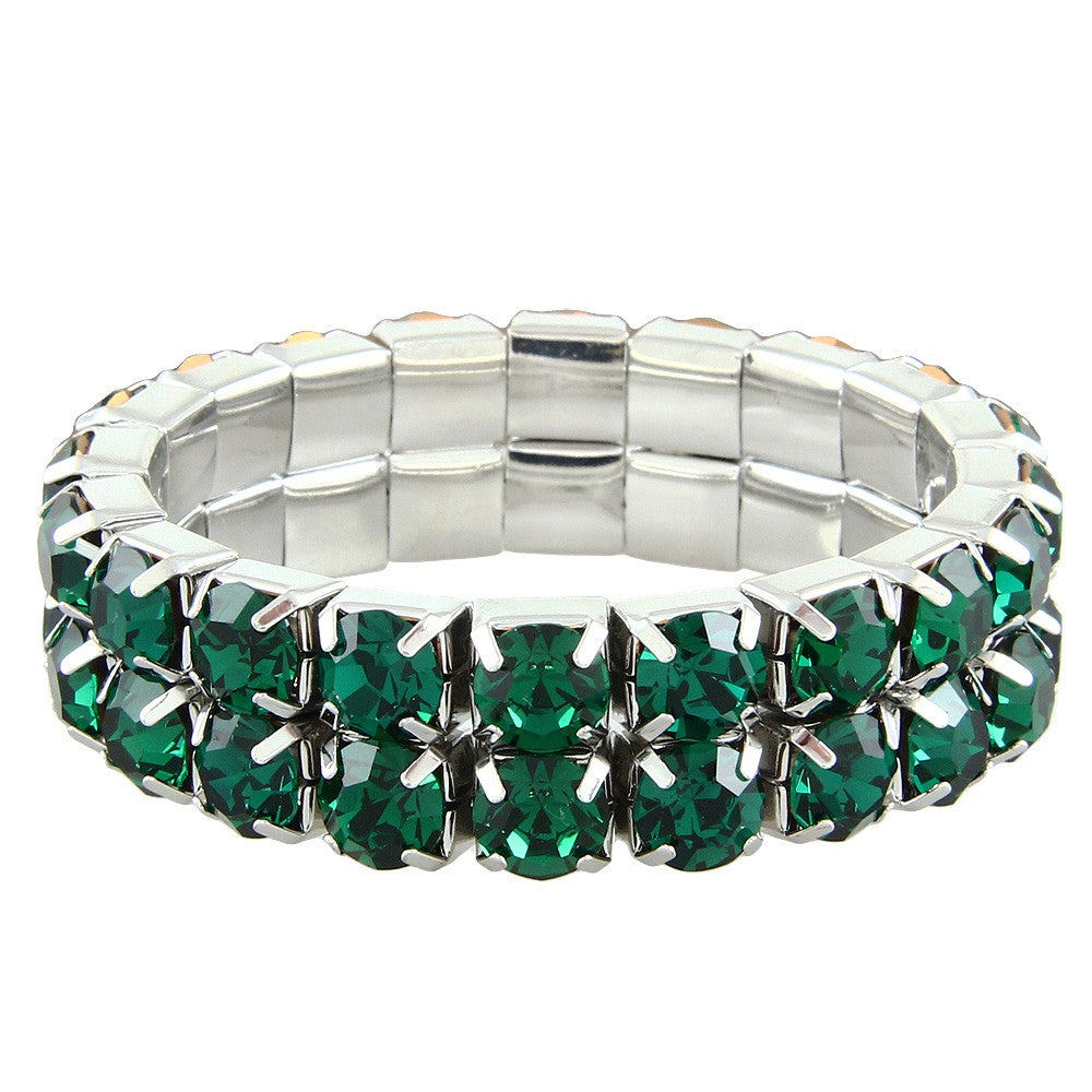 """ Excellence "" 2 Row Emerald Czech Crystal Stone Stretch Bracelet"