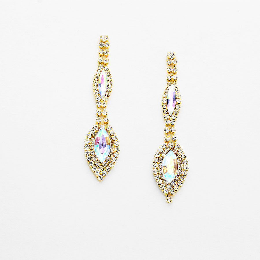 """ Alluring"" Double Drop AB Iridescent Crystal Chandelier Earrings Gold Tone"