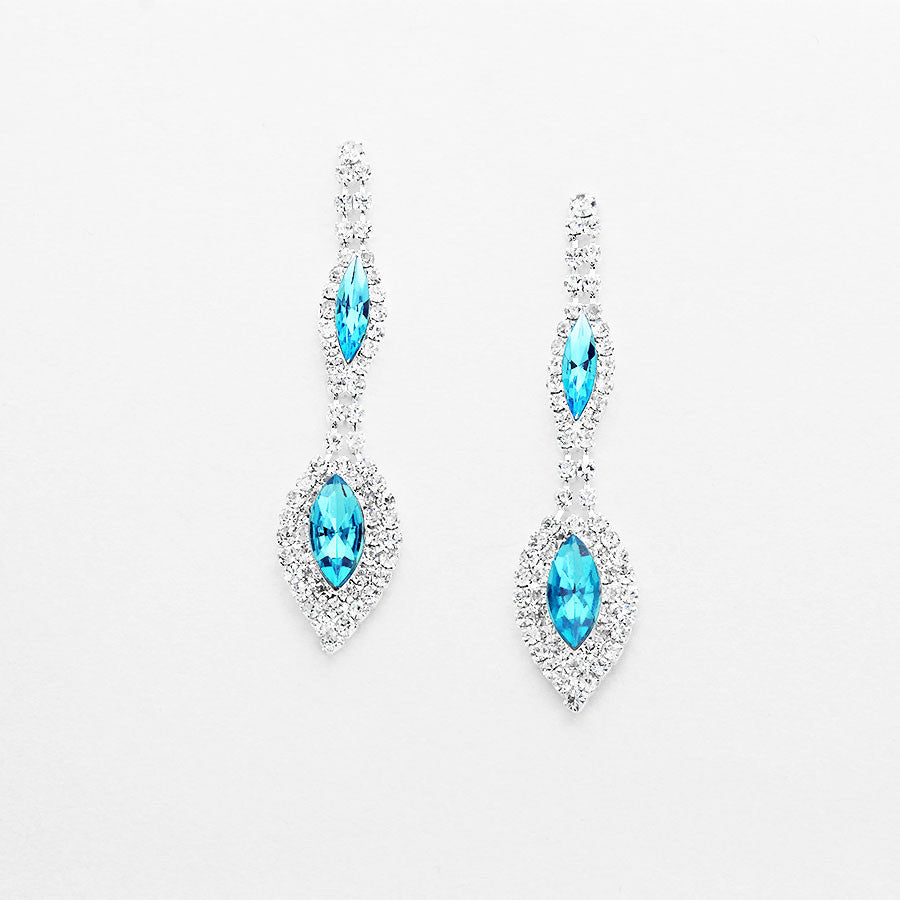 """ Alluring"" Double Drop Aqua Blue Crystal Rhinestone Chandelier Earrings Silver Tone"