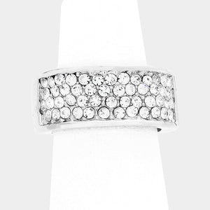 """ Limitless "" Clear Pave Rhinestone Stretch Ring on Silver Tone"