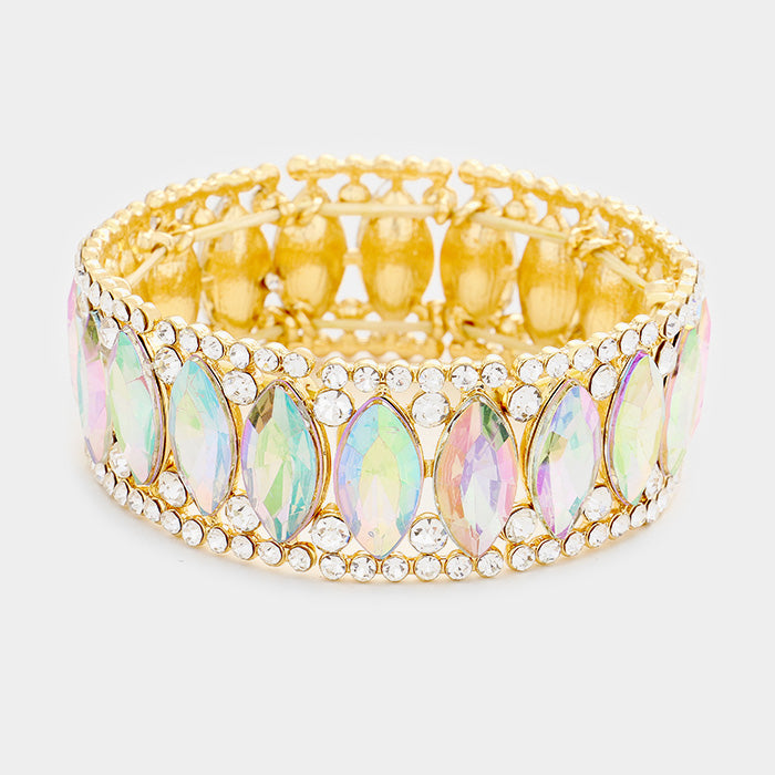 """ Eyes On The Prize "" AB Iridescent Marquise Crystal Rhinestone Stretch Bracelet On Gold Tone"