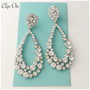 """ Backstage ""  Clip On Clear Crystal Chandelier Earrings On Silver Tone"