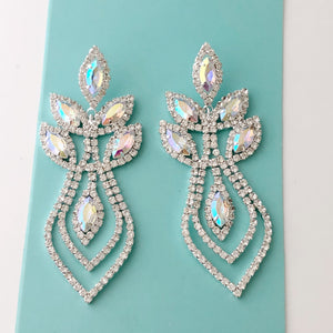 """ Fire Starter "" Marquise AB Iridescent Crystal Rhinestone Earrings on Silver Tone"