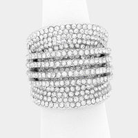 """ Electric ""  Clear Rhinestone Pave Ring on Silver Tone"