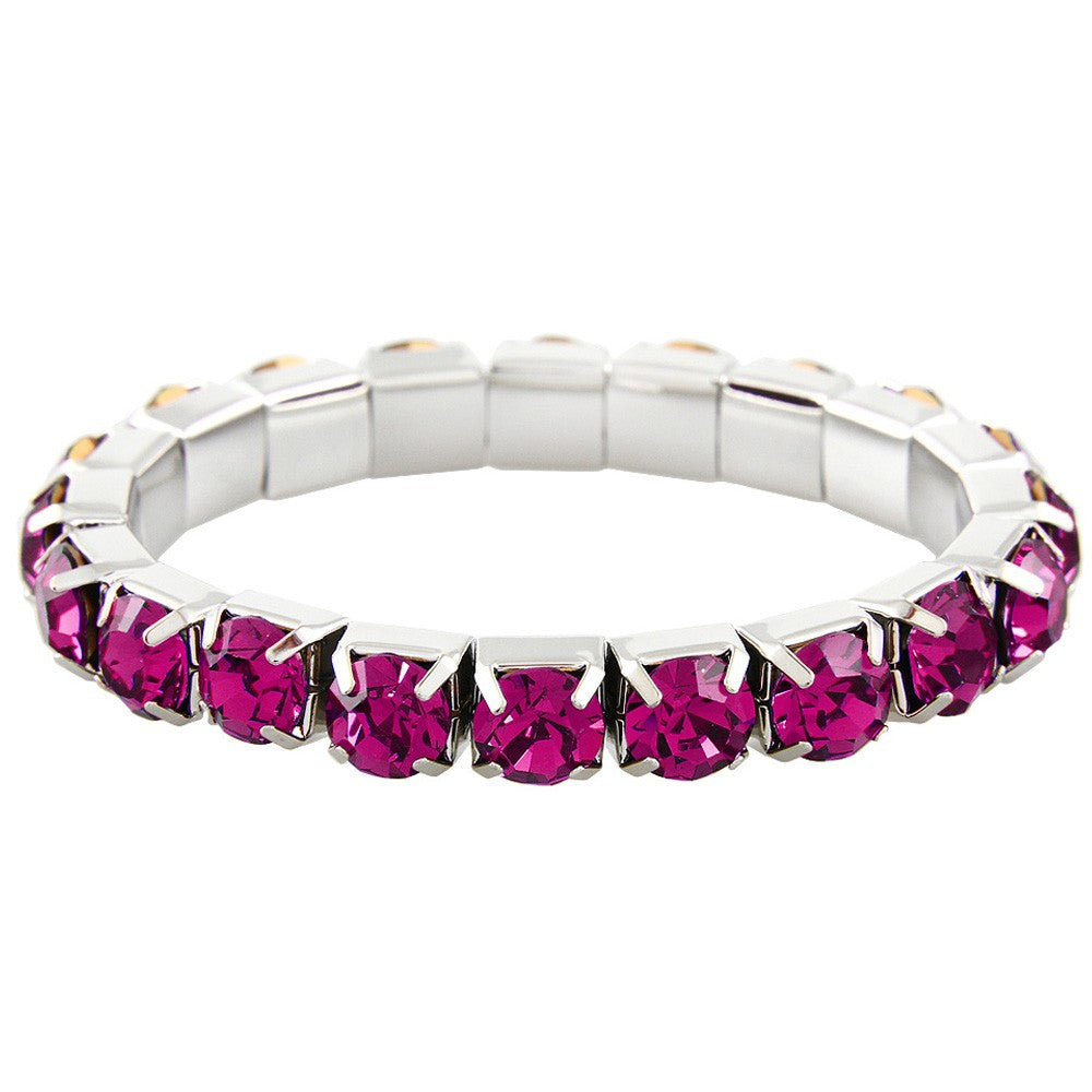 """ Excellence "" 1 Row Fuchsia Czech Crystal Stretch Bracelet"