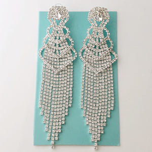 """ Step It Up "" Elegant Clear Rhinestone Fringe Earrings On Silver Tone"