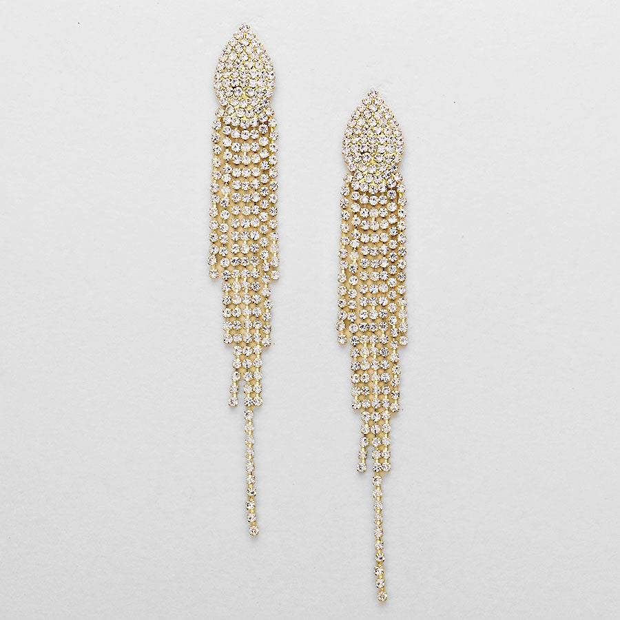 """ Sexy Flare"" Clear Crystal Rhinestone Fringe Earrings On Gold Tone"