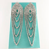 """ Curtain Call "" Clear Rhinestone Draped Earrings On Silver Tone"